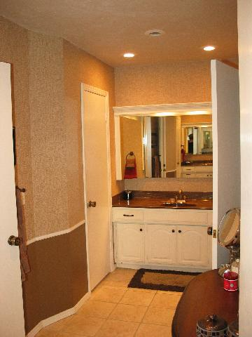 Just one half of the master bathroom.  Notice there are two basins (see the reflection in the mirror for the other.